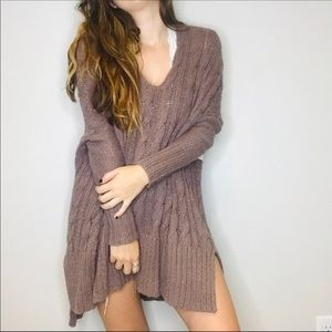 Free people brown cable knit oversized sweater